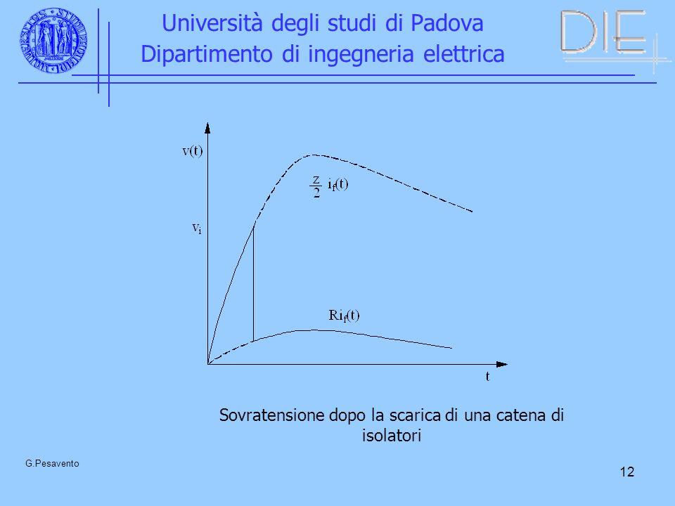 12 Università degli studi di Padova Dipartimento di ingegneria elettrica G.Pesavento Sovratensione dopo la scarica di una catena di isolatori
