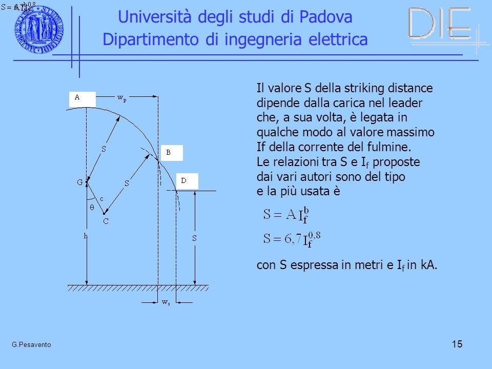 15 Università degli studi di Padova Dipartimento di ingegneria elettrica G.Pesavento Il valore S della striking distance dipende dalla carica nel lead