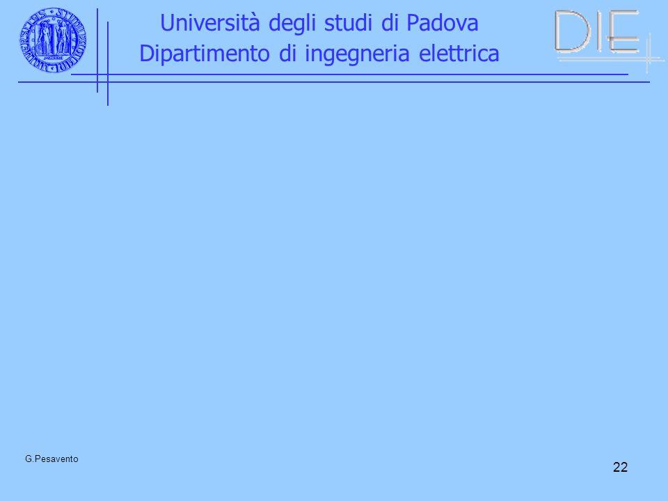22 Università degli studi di Padova Dipartimento di ingegneria elettrica G.Pesavento
