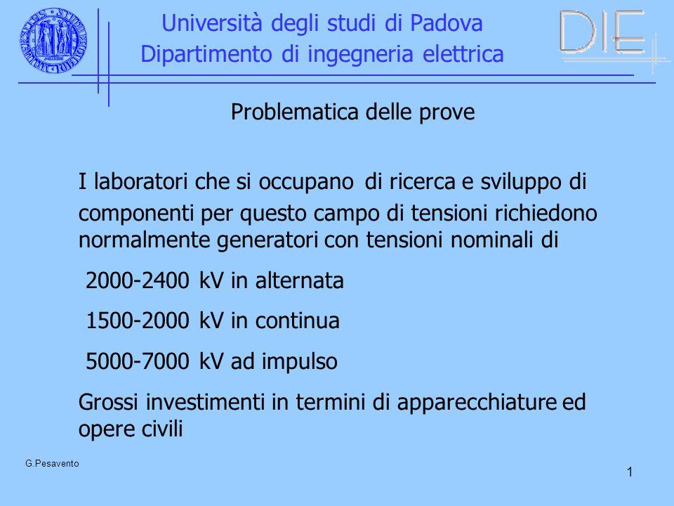12 Università degli studi di Padova Dipartimento di ingegneria elettrica G.Pesavento IMPULSI DI FULMINAZIONE 1,2/ 50 µs IMPULSI DI MANOVRA 250/2500 µs I primi vengono usati anche per prove EMC (prova di surge)