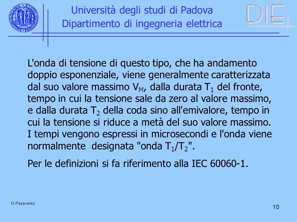 10 Università degli studi di Padova Dipartimento di ingegneria elettrica G.Pesavento L'onda di tensione di questo tipo, che ha andamento doppio espone