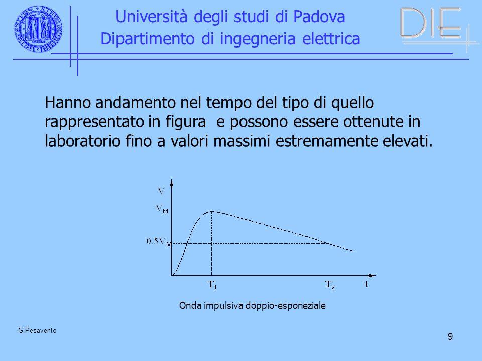 9 Università degli studi di Padova Dipartimento di ingegneria elettrica G.Pesavento Hanno andamento nel tempo del tipo di quello rappresentato in figu