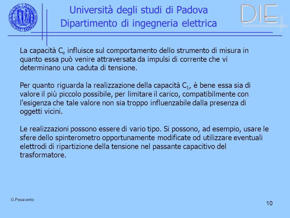 10 Università degli studi di Padova Dipartimento di ingegneria elettrica G.Pesavento La capacità C e influisce sul comportamento dello strumento di misura in quanto essa può venire attraversata da impulsi di corrente che vi determinano una caduta di tensione.