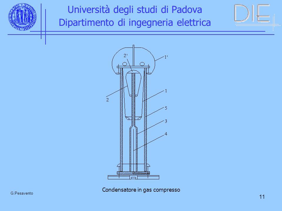 11 Università degli studi di Padova Dipartimento di ingegneria elettrica G.Pesavento Condensatore in gas compresso
