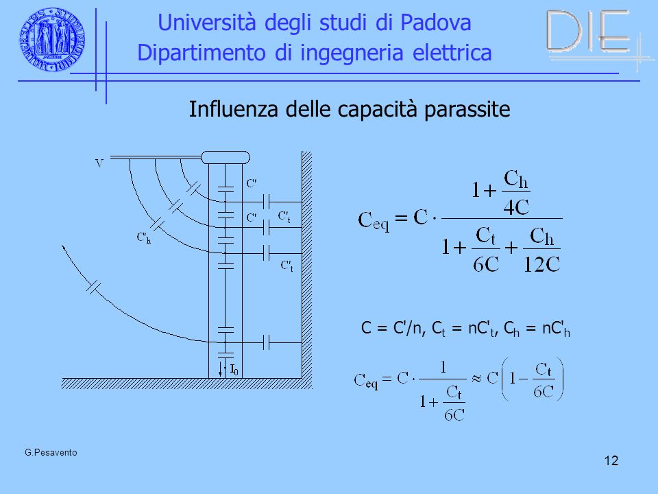 12 Università degli studi di Padova Dipartimento di ingegneria elettrica G.Pesavento Influenza delle capacità parassite C = C /n, C t = nC t, C h = nC h