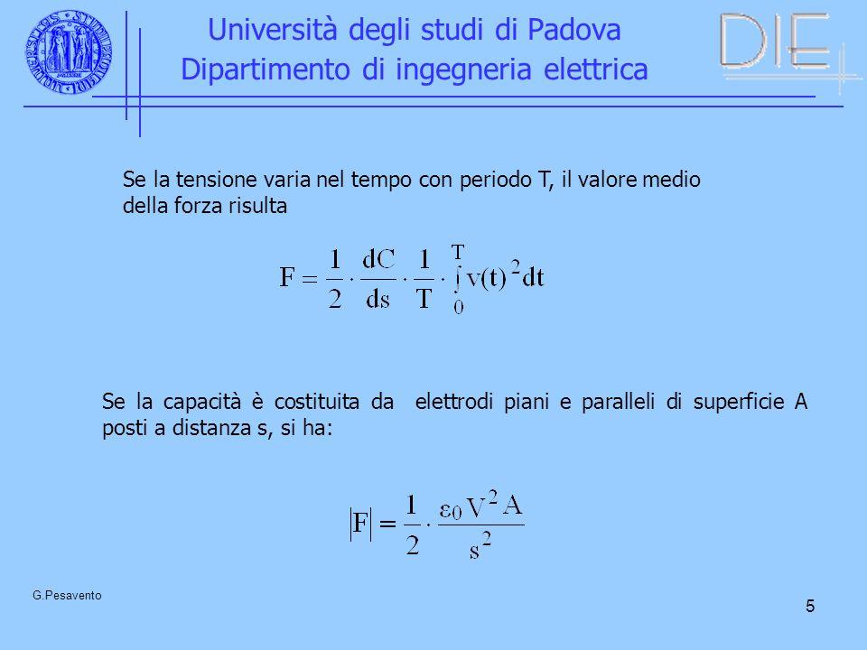 6 Università degli studi di Padova Dipartimento di ingegneria elettrica G.Pesavento Se la capacità C di un condensatore, sottoposto ad una tensione continua V, varia nel tempo, il condensatore è percorso da una corrente data da La corrente media nel semiperiodo vale