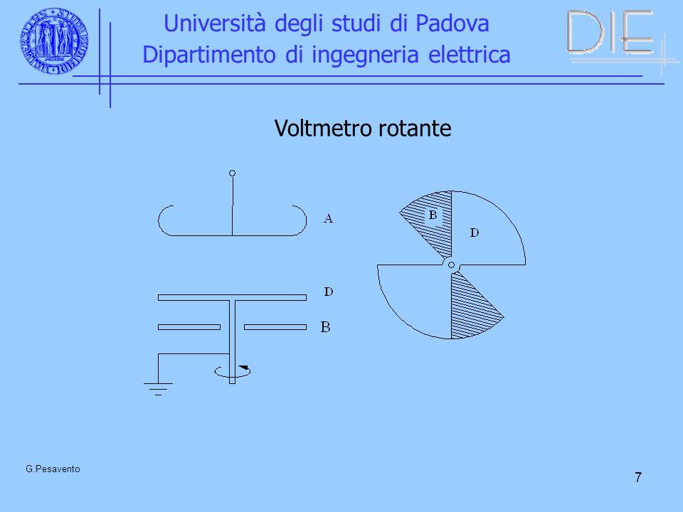 7 Università degli studi di Padova Dipartimento di ingegneria elettrica G.Pesavento Voltmetro rotante