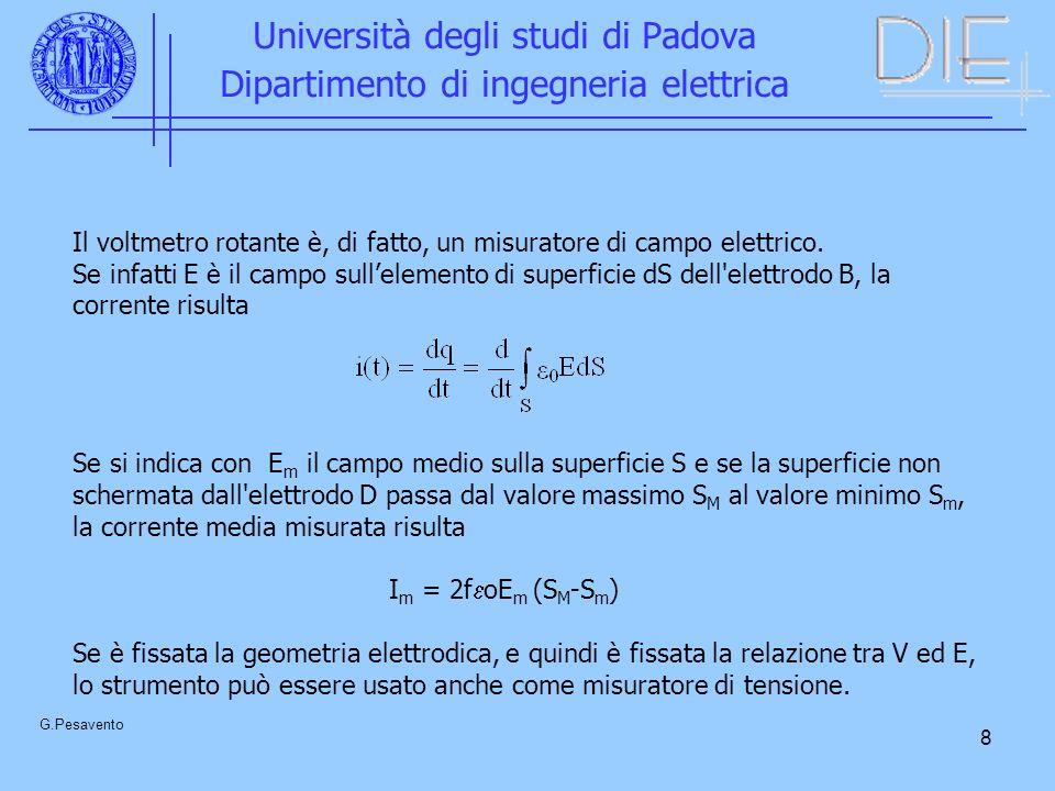 8 Università degli studi di Padova Dipartimento di ingegneria elettrica G.Pesavento Il voltmetro rotante è, di fatto, un misuratore di campo elettrico.