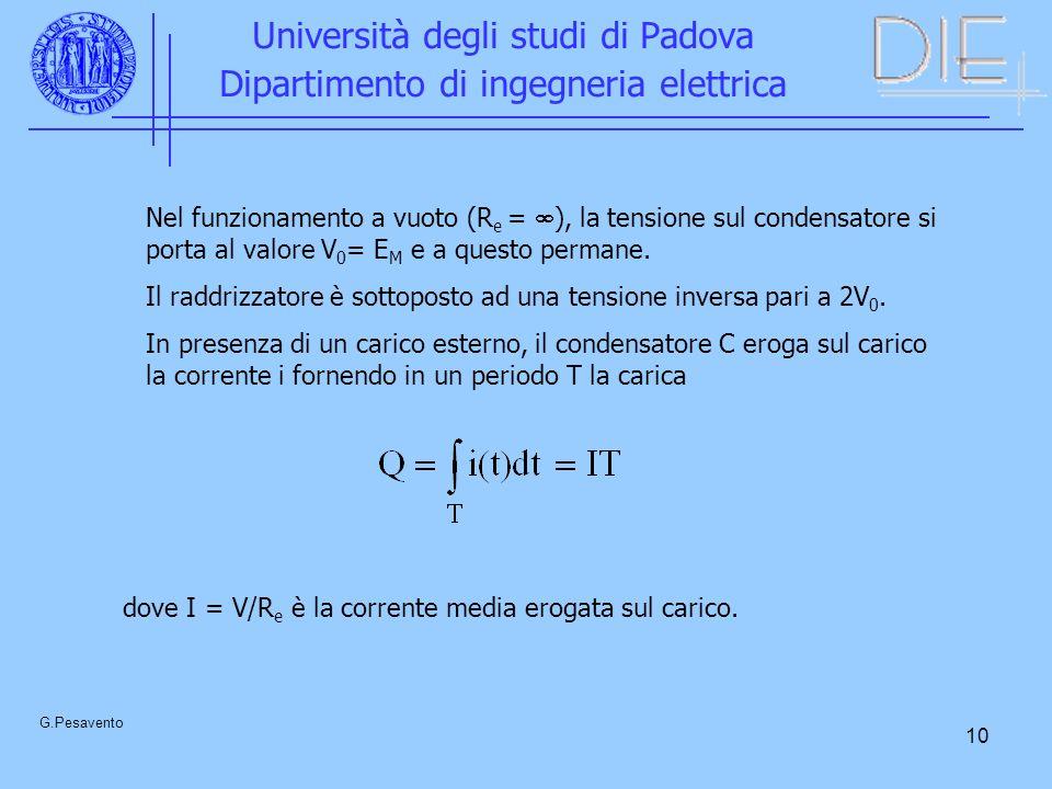 10 Università degli studi di Padova Dipartimento di ingegneria elettrica G.Pesavento Nel funzionamento a vuoto (R e = ), la tensione sul condensatore