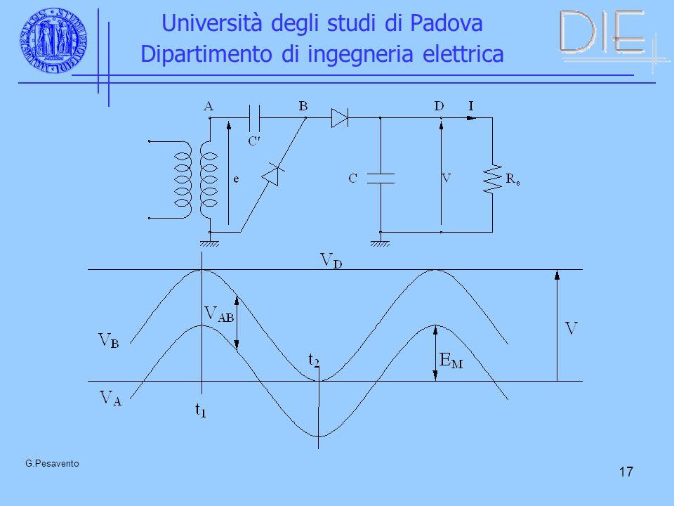 17 Università degli studi di Padova Dipartimento di ingegneria elettrica G.Pesavento