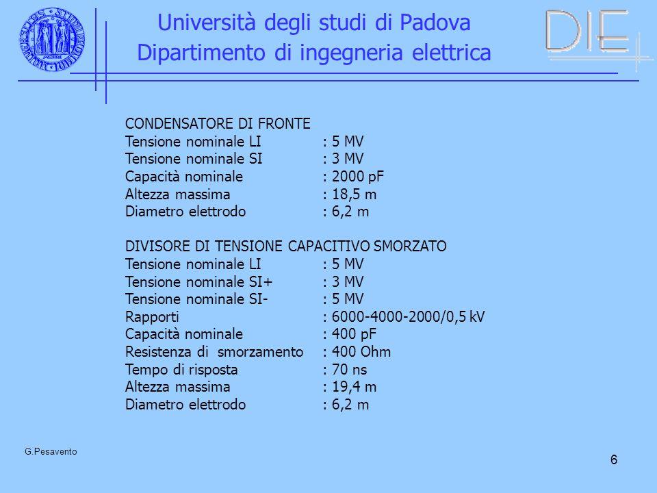 6 Università degli studi di Padova Dipartimento di ingegneria elettrica G.Pesavento CONDENSATORE DI FRONTE Tensione nominale LI: 5 MV Tensione nominal