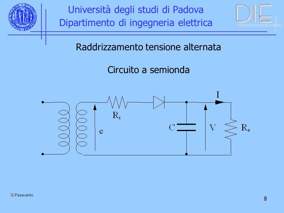9 Università degli studi di Padova Dipartimento di ingegneria elettrica G.Pesavento Tensione trasformatore Tensione sul condensatore Valore tensione continua
