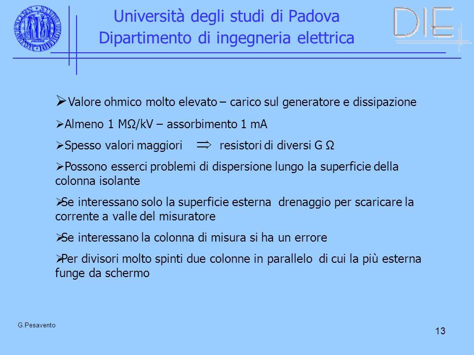 13 Università degli studi di Padova Dipartimento di ingegneria elettrica G.Pesavento Valore ohmico molto elevato – carico sul generatore e dissipazion