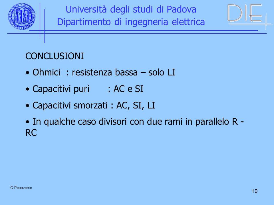 10 Università degli studi di Padova Dipartimento di ingegneria elettrica G.Pesavento CONCLUSIONI Ohmici : resistenza bassa – solo LI Capacitivi puri: