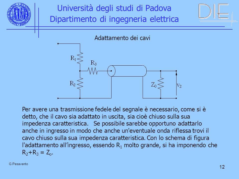 12 Università degli studi di Padova Dipartimento di ingegneria elettrica G.Pesavento Adattamento dei cavi Per avere una trasmissione fedele del segnal