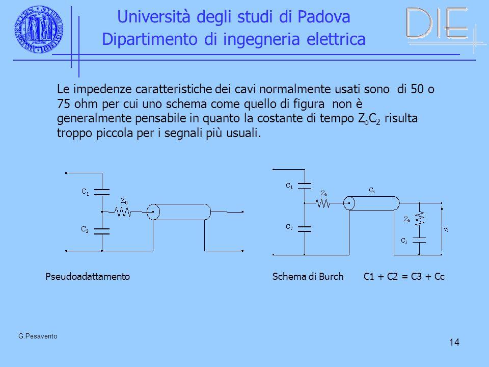 14 Università degli studi di Padova Dipartimento di ingegneria elettrica G.Pesavento Le impedenze caratteristiche dei cavi normalmente usati sono di 5
