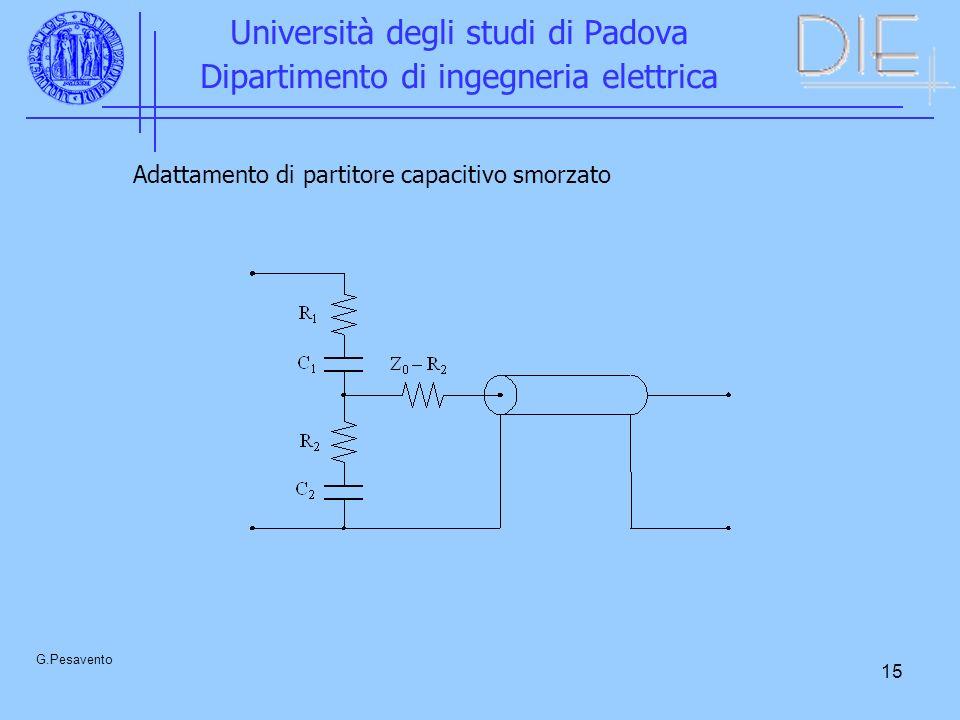 15 Università degli studi di Padova Dipartimento di ingegneria elettrica G.Pesavento Adattamento di partitore capacitivo smorzato