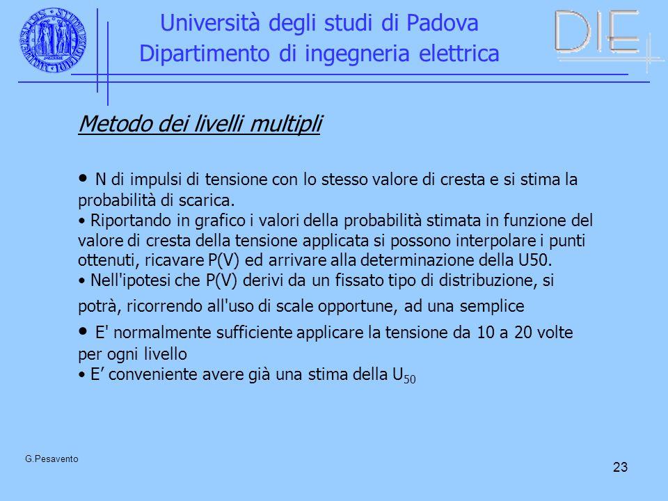 23 Università degli studi di Padova Dipartimento di ingegneria elettrica G.Pesavento Metodo dei livelli multipli N di impulsi di tensione con lo stesso valore di cresta e si stima la probabilità di scarica.