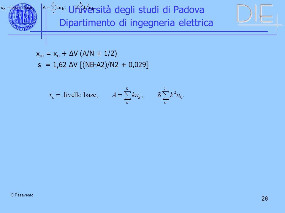 26 Università degli studi di Padova Dipartimento di ingegneria elettrica G.Pesavento x m = x o + ΔV (A/N ± 1/2) s = 1,62 ΔV [(NB-A2)/N2 + 0,029]