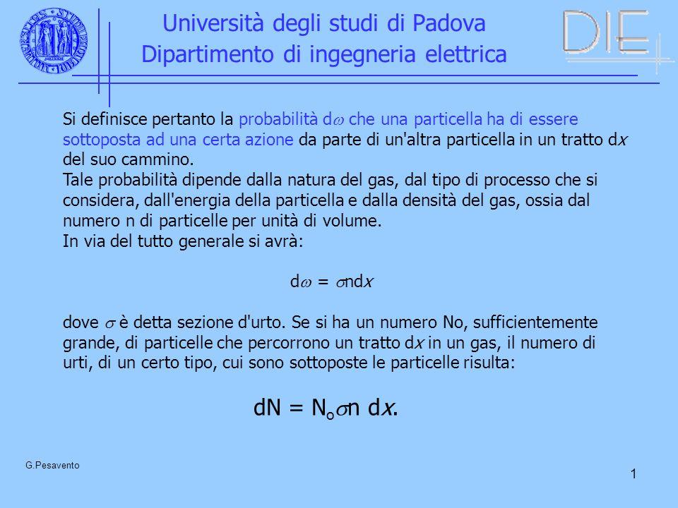 1 Università degli studi di Padova Dipartimento di ingegneria elettrica G.Pesavento Si definisce pertanto la probabilità d che una particella ha di essere sottoposta ad una certa azione da parte di un altra particella in un tratto dx del suo cammino.