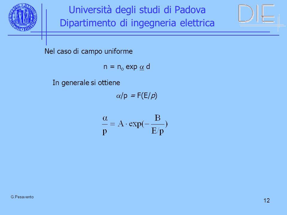 12 Università degli studi di Padova Dipartimento di ingegneria elettrica G.Pesavento Nel caso di campo uniforme n = n o exp d In generale si ottiene /p = F(E/p)