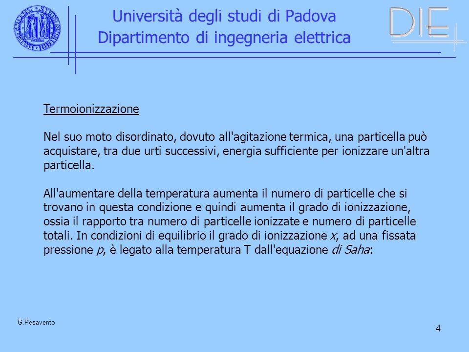 15 Università degli studi di Padova Dipartimento di ingegneria elettrica G.Pesavento Sostituendo si ottiene n = n o e d / [1 - (e d - 1)] La corrente diventa infinita quando (e d - 1) = 1 ovvero e d = 1 Si deriva la legge di Paschen V s = f(pd) Infatti =F 1 (E/p)