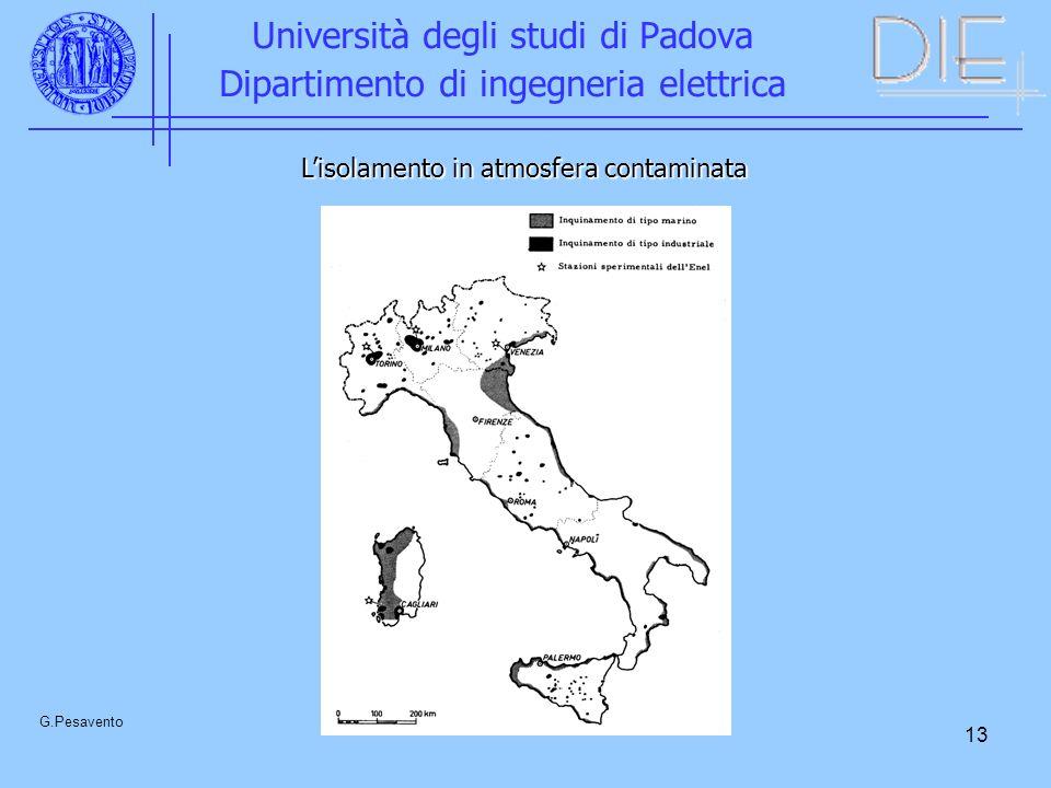 13 Università degli studi di Padova Dipartimento di ingegneria elettrica G.Pesavento Lisolamento in atmosfera contaminata