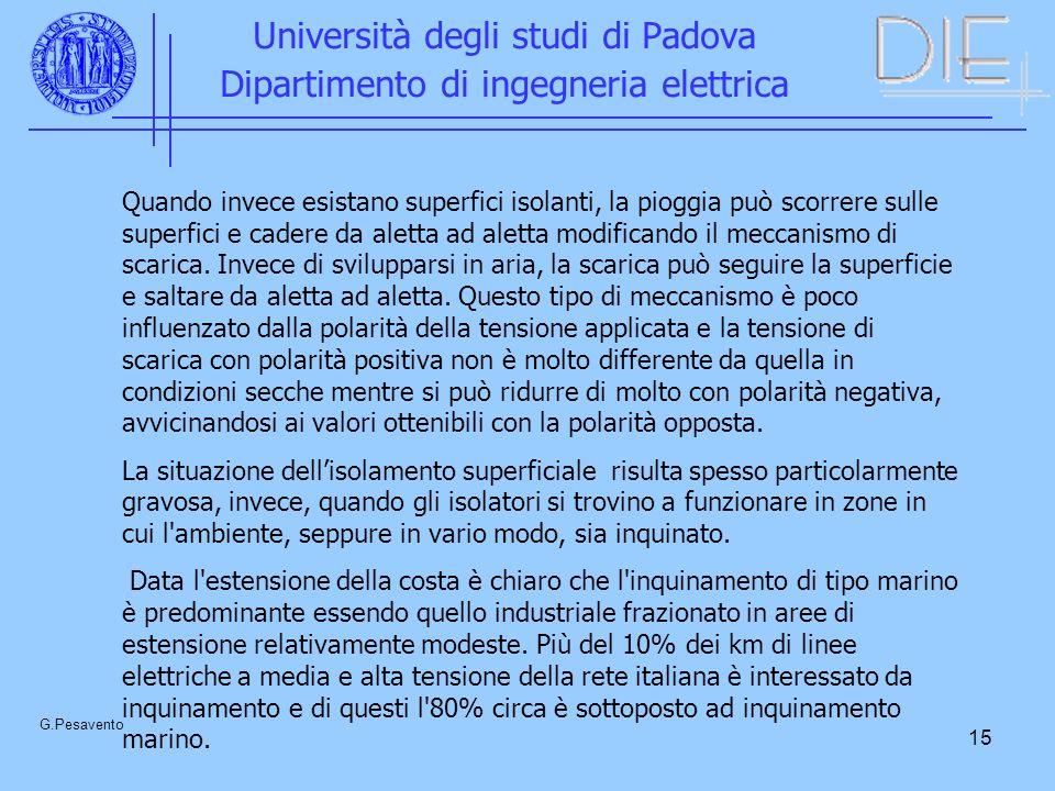 15 Università degli studi di Padova Dipartimento di ingegneria elettrica G.Pesavento Quando invece esistano superfici isolanti, la pioggia può scorrere sulle superfici e cadere da aletta ad aletta modificando il meccanismo di scarica.