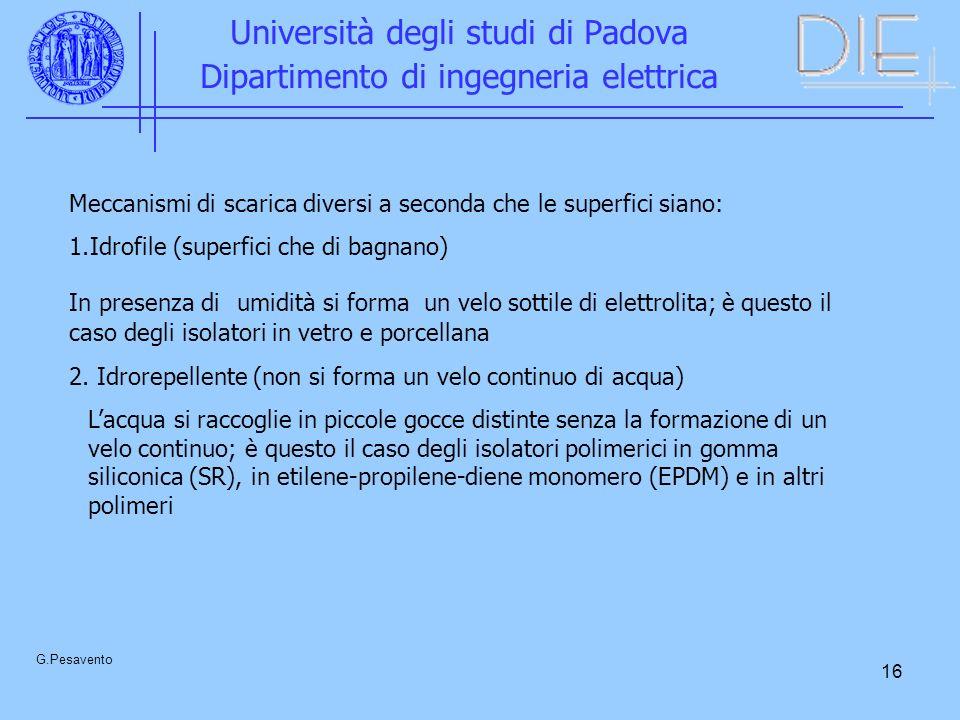 16 Università degli studi di Padova Dipartimento di ingegneria elettrica G.Pesavento Meccanismi di scarica diversi a seconda che le superfici siano: 1