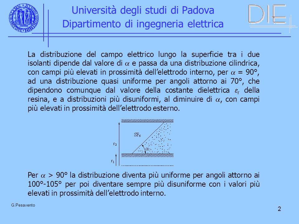 2 Università degli studi di Padova Dipartimento di ingegneria elettrica G.Pesavento La distribuzione del campo elettrico lungo la superficie tra i due