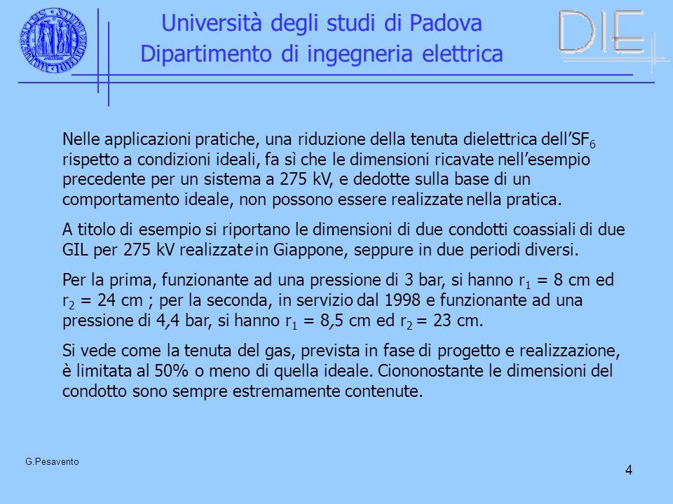 4 Università degli studi di Padova Dipartimento di ingegneria elettrica G.Pesavento Nelle applicazioni pratiche, una riduzione della tenuta dielettric