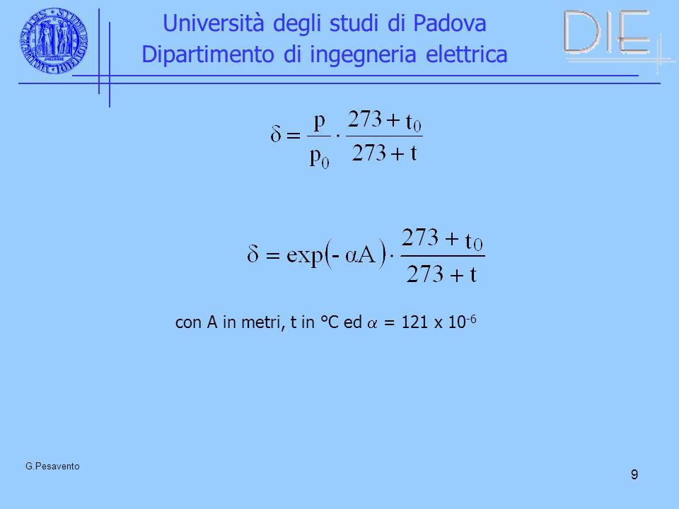 9 Università degli studi di Padova Dipartimento di ingegneria elettrica G.Pesavento con A in metri, t in °C ed = 121 x 10 -6