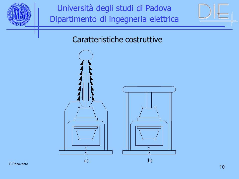 10 Università degli studi di Padova Dipartimento di ingegneria elettrica G.Pesavento Caratteristiche costruttive