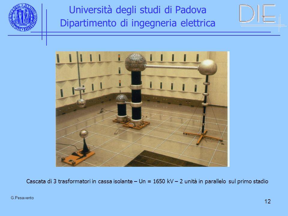 12 Università degli studi di Padova Dipartimento di ingegneria elettrica G.Pesavento Cascata di 3 trasformatori in cassa isolante – Un = 1650 kV – 2 unità in parallelo sul primo stadio