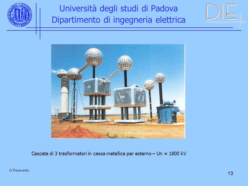 13 Università degli studi di Padova Dipartimento di ingegneria elettrica G.Pesavento Cascata di 3 trasformatori in cassa metallica per esterno – Un = 1800 kV