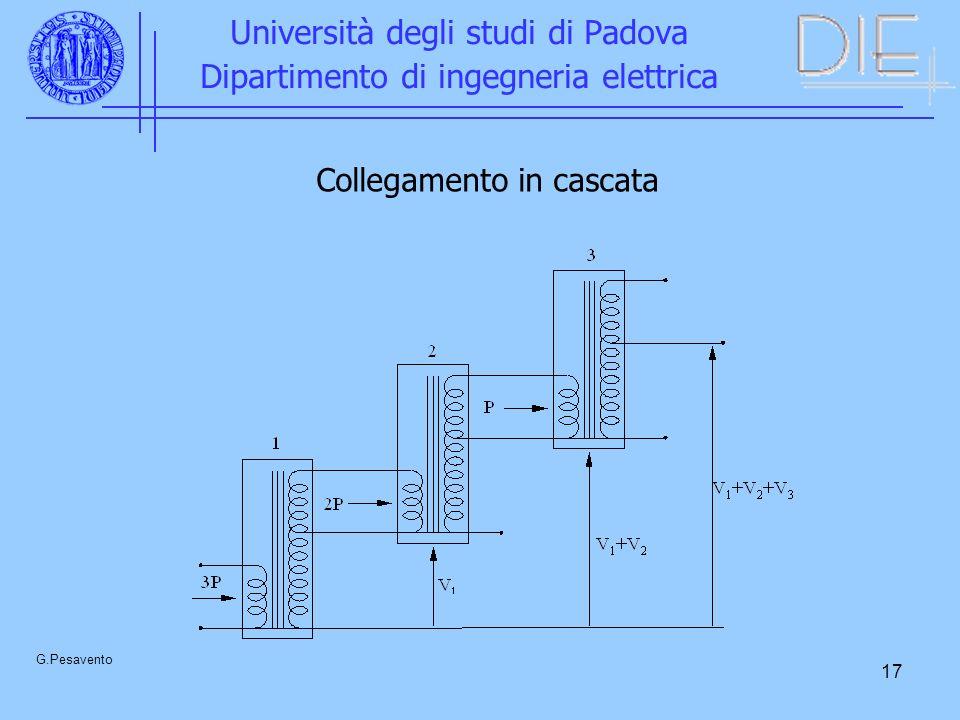 17 Università degli studi di Padova Dipartimento di ingegneria elettrica G.Pesavento Collegamento in cascata