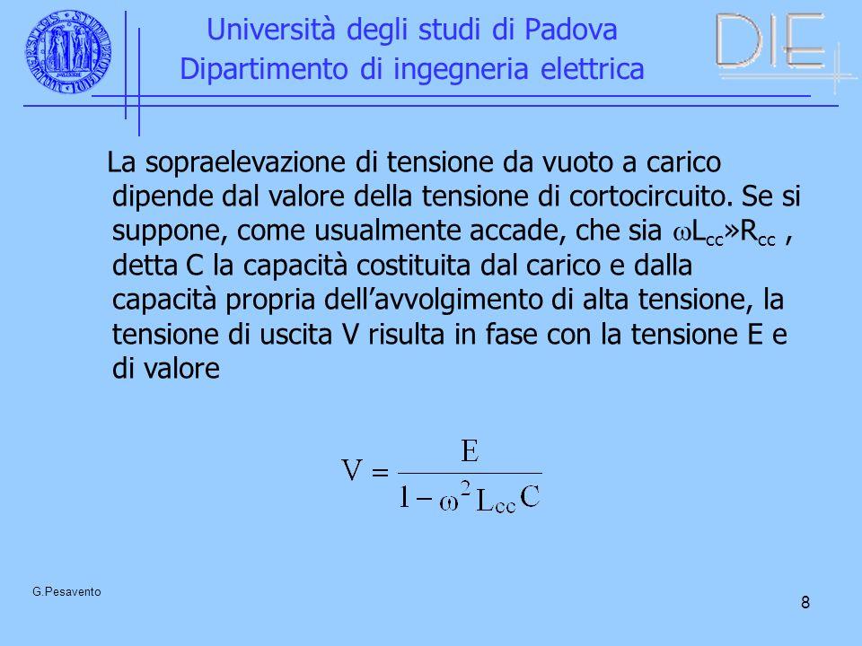 9 Università degli studi di Padova Dipartimento di ingegneria elettrica G.Pesavento Se il carico è tale da assorbire a V n la corrente nominale I n I n = V n C 2 L cc C = I n L cc /V n = v cc Si ottiene quindi: