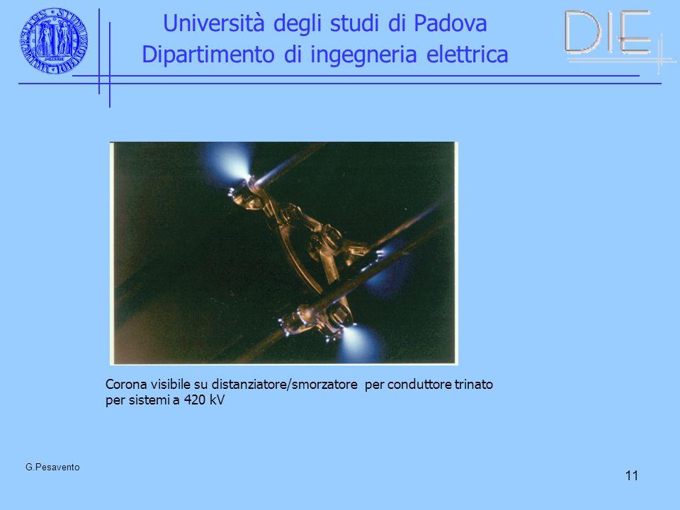 11 Università degli studi di Padova Dipartimento di ingegneria elettrica G.Pesavento Corona visibile su distanziatore/smorzatore per conduttore trinat