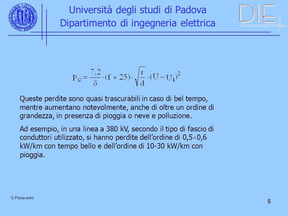5 Università degli studi di Padova Dipartimento di ingegneria elettrica G.Pesavento Queste perdite sono quasi trascurabili in caso di bel tempo, mentr