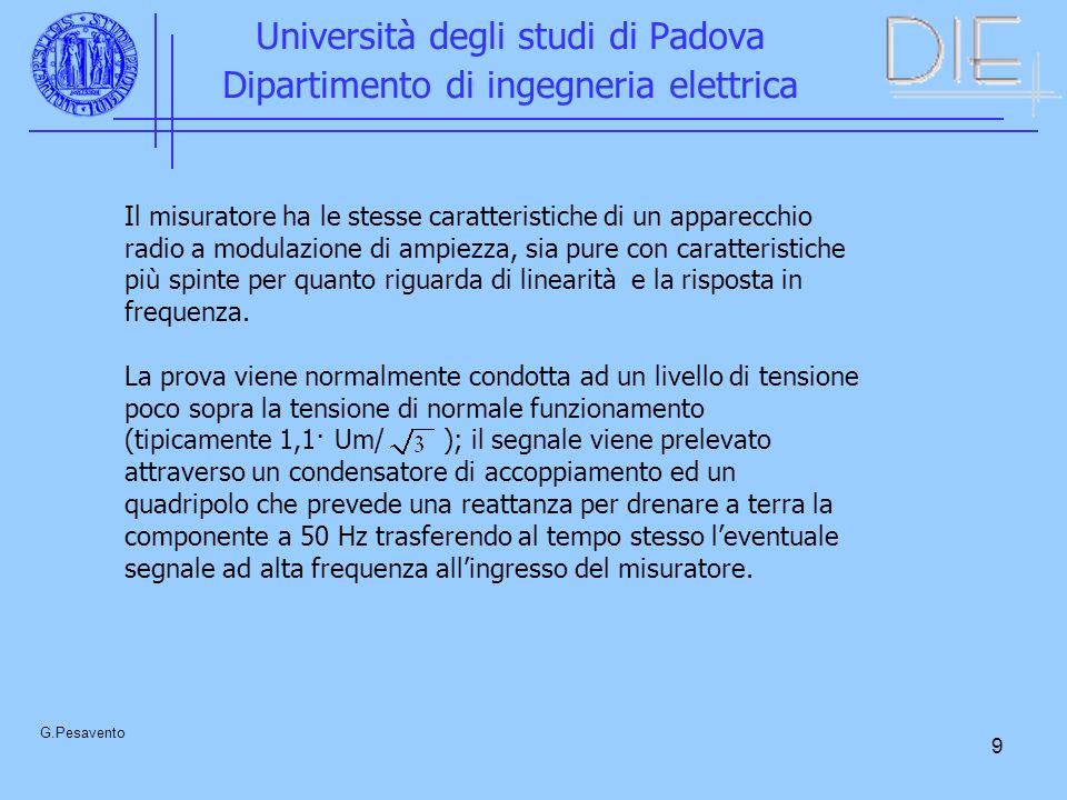 9 Università degli studi di Padova Dipartimento di ingegneria elettrica G.Pesavento Il misuratore ha le stesse caratteristiche di un apparecchio radio