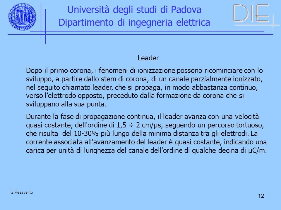 12 Università degli studi di Padova Dipartimento di ingegneria elettrica G.Pesavento Leader Dopo il primo corona, i fenomeni di ionizzazione possono r