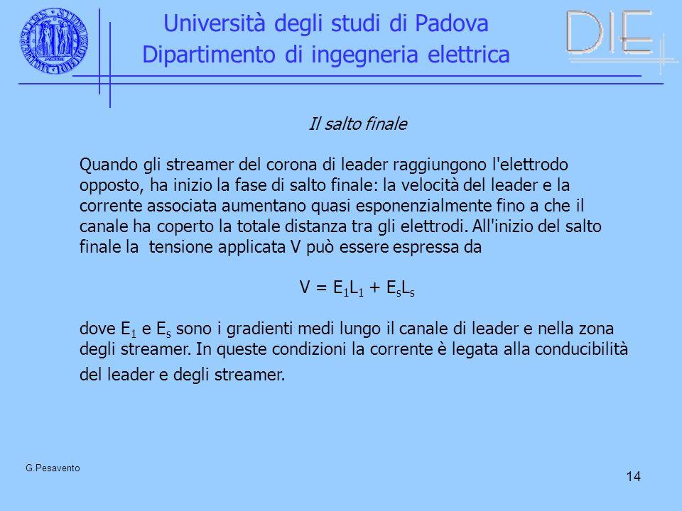 14 Università degli studi di Padova Dipartimento di ingegneria elettrica G.Pesavento Il salto finale Quando gli streamer del corona di leader raggiung