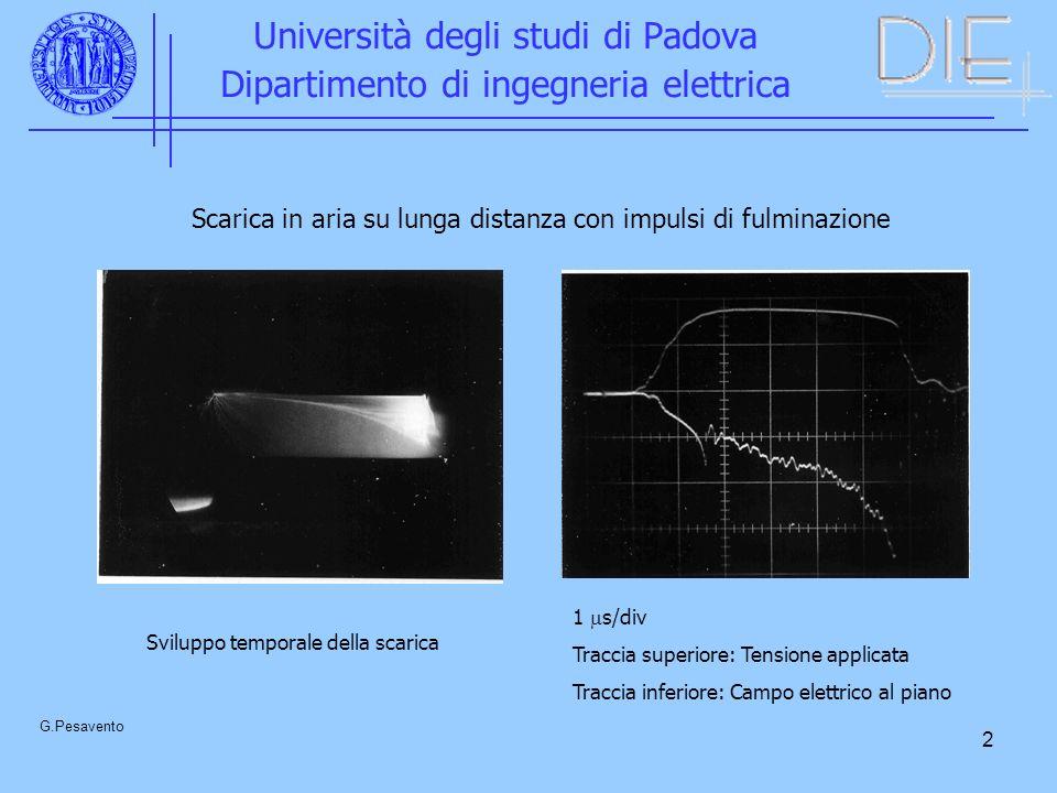 2 Università degli studi di Padova Dipartimento di ingegneria elettrica G.Pesavento Scarica in aria su lunga distanza con impulsi di fulminazione 1 s/