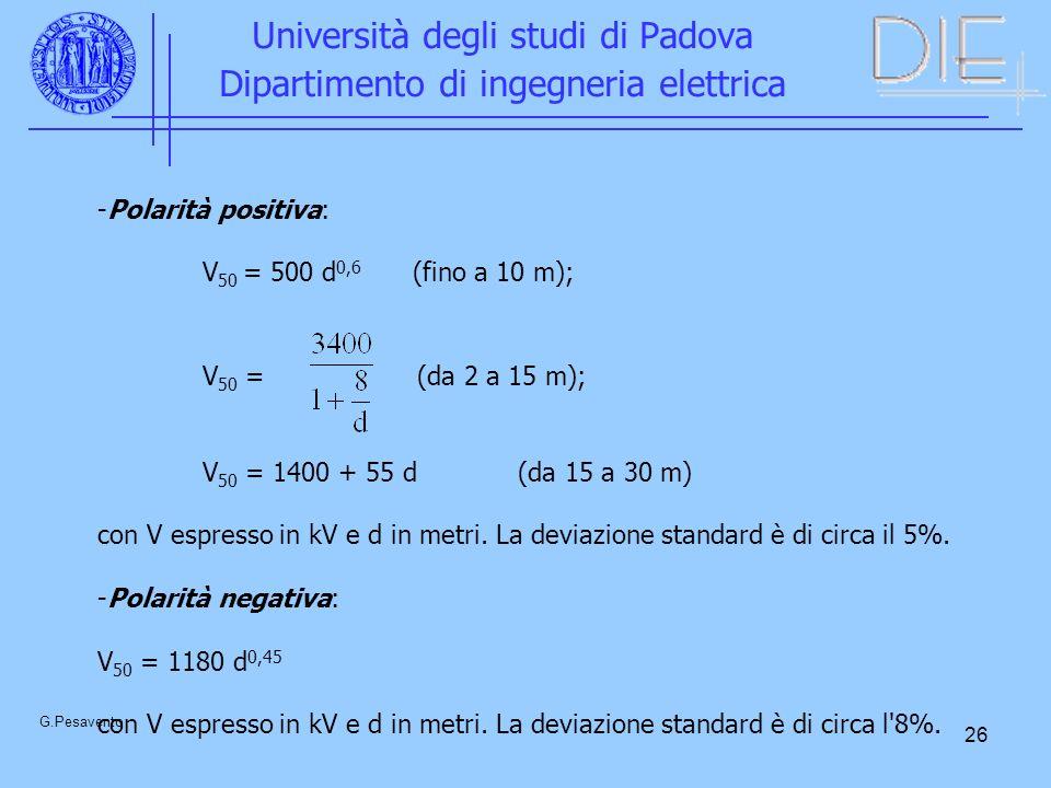 26 Università degli studi di Padova Dipartimento di ingegneria elettrica G.Pesavento -Polarità positiva: V 50 = 500 d 0,6 (fino a 10 m); V 50 = (da 2 a 15 m); V 50 = 1400 + 55 d(da 15 a 30 m) con V espresso in kV e d in metri.