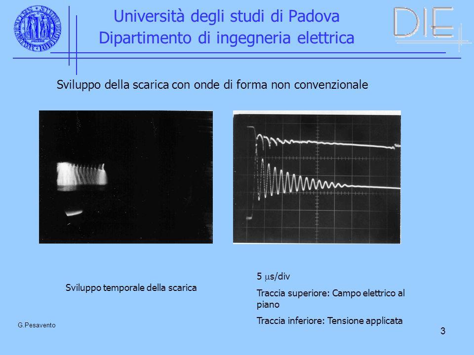 3 Università degli studi di Padova Dipartimento di ingegneria elettrica G.Pesavento Sviluppo temporale della scarica 5 s/div Traccia superiore: Campo