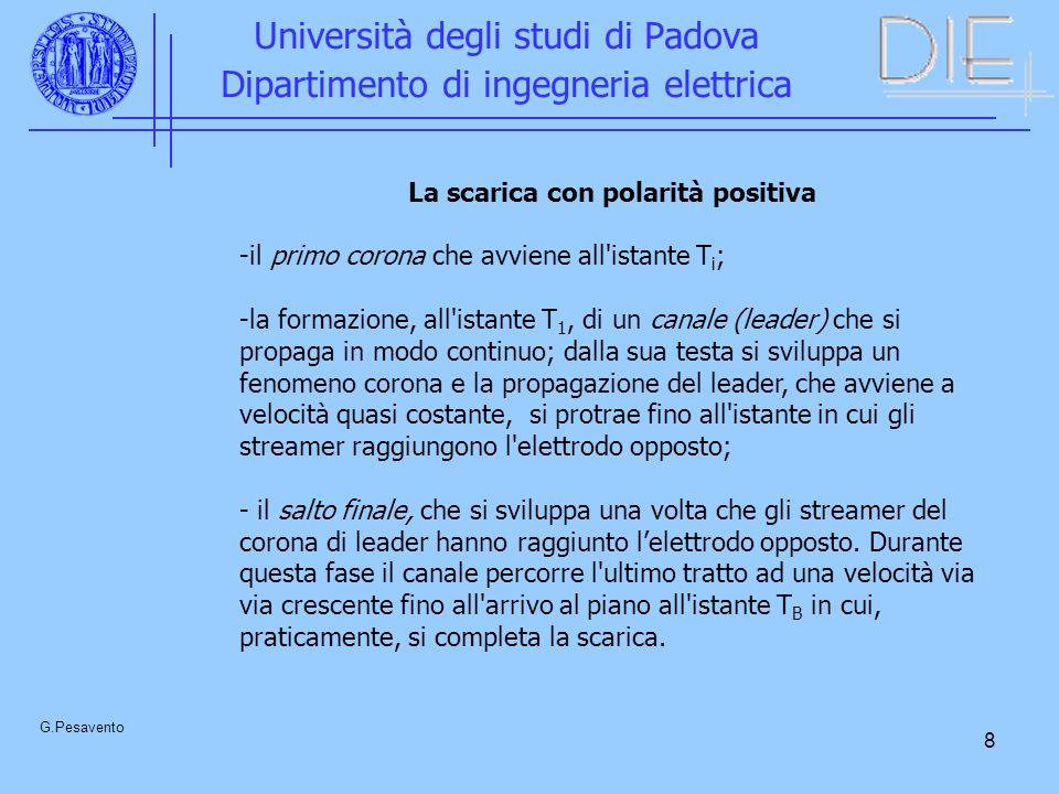 8 Università degli studi di Padova Dipartimento di ingegneria elettrica G.Pesavento La scarica con polarità positiva -il primo corona che avviene all'