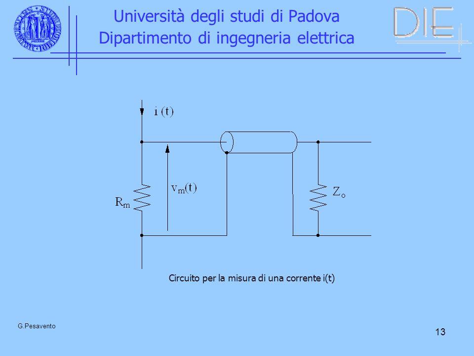 13 Università degli studi di Padova Dipartimento di ingegneria elettrica G.Pesavento Circuito per la misura di una corrente i(t)