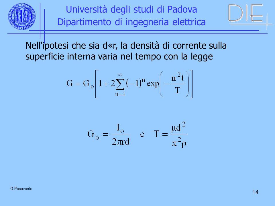 14 Università degli studi di Padova Dipartimento di ingegneria elettrica G.Pesavento Nell'ipotesi che sia d«r, la densità di corrente sulla superficie