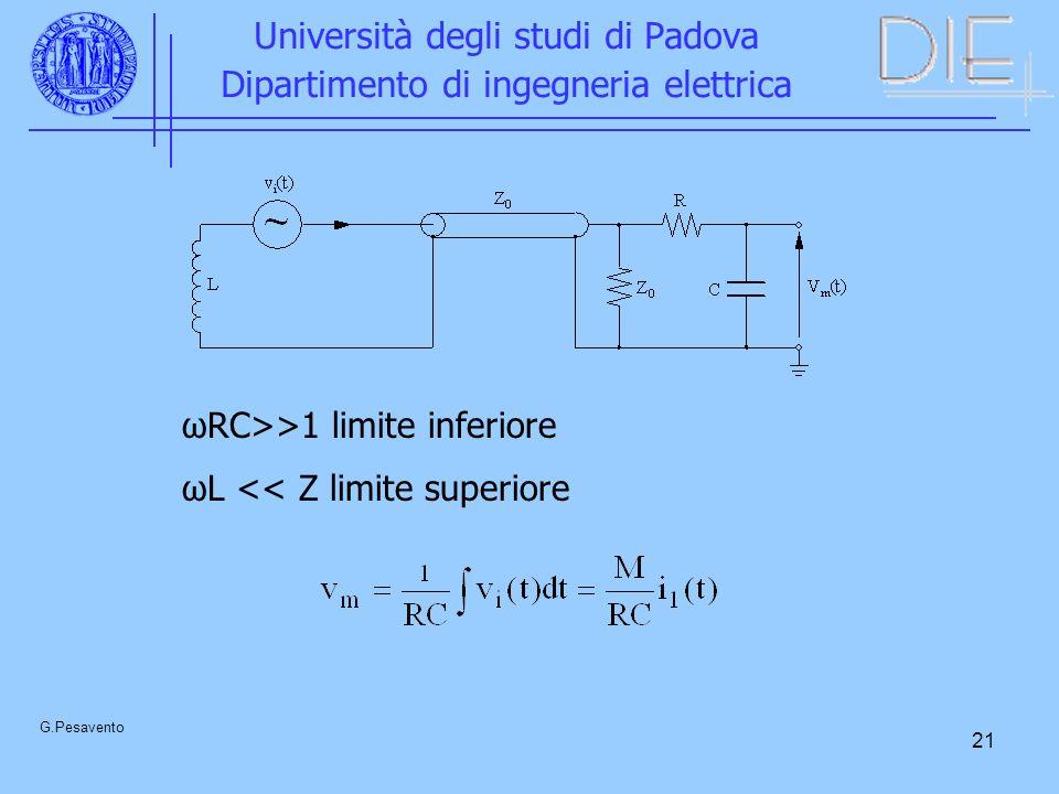 21 Università degli studi di Padova Dipartimento di ingegneria elettrica G.Pesavento ωRC>>1 limite inferiore ωL << Z limite superiore