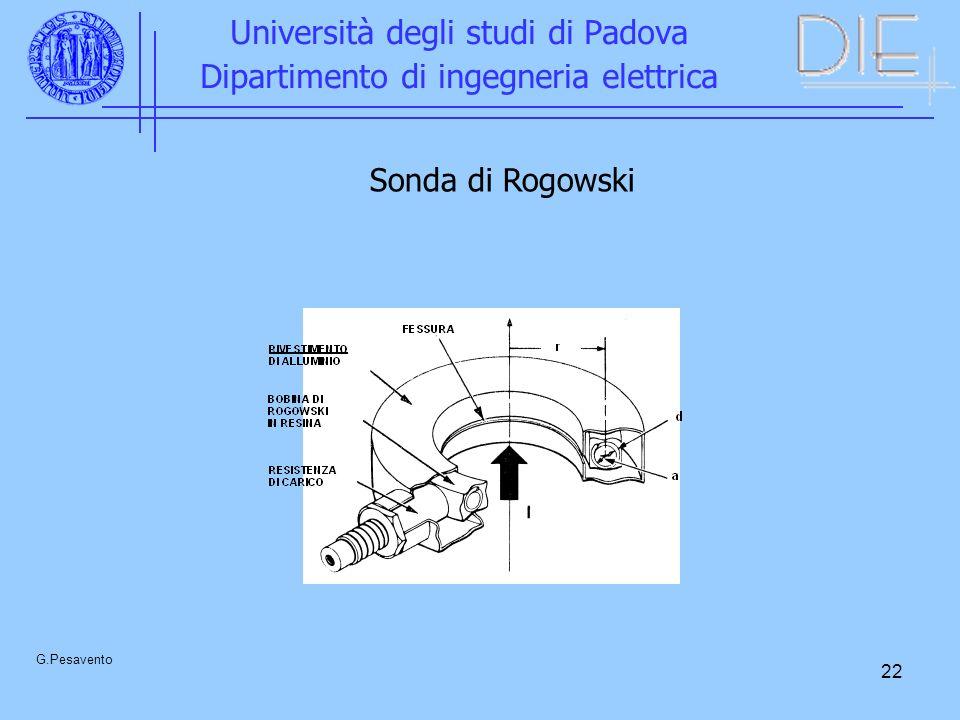 22 Università degli studi di Padova Dipartimento di ingegneria elettrica G.Pesavento Sonda di Rogowski